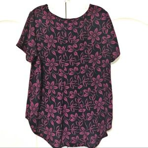 Pleione Dot Floral Pullover Top Hi Lo Navy Pink M